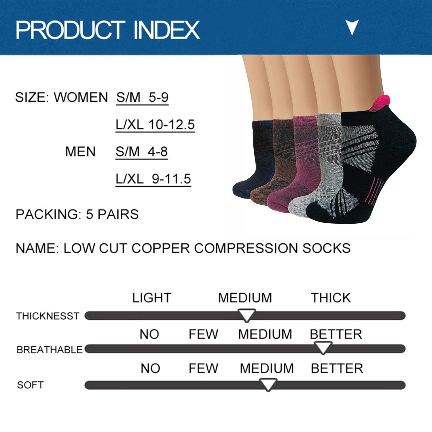 Copper Anti-bacterial Compression Running Socks For Men /& Women-5//10 Pairs-Fit for Athletic,Travel/& Medical