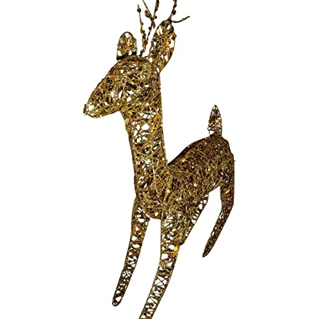 sale light up 60cm 2ft pre lit glitter gold christmas reindeer figure ornament with warm
