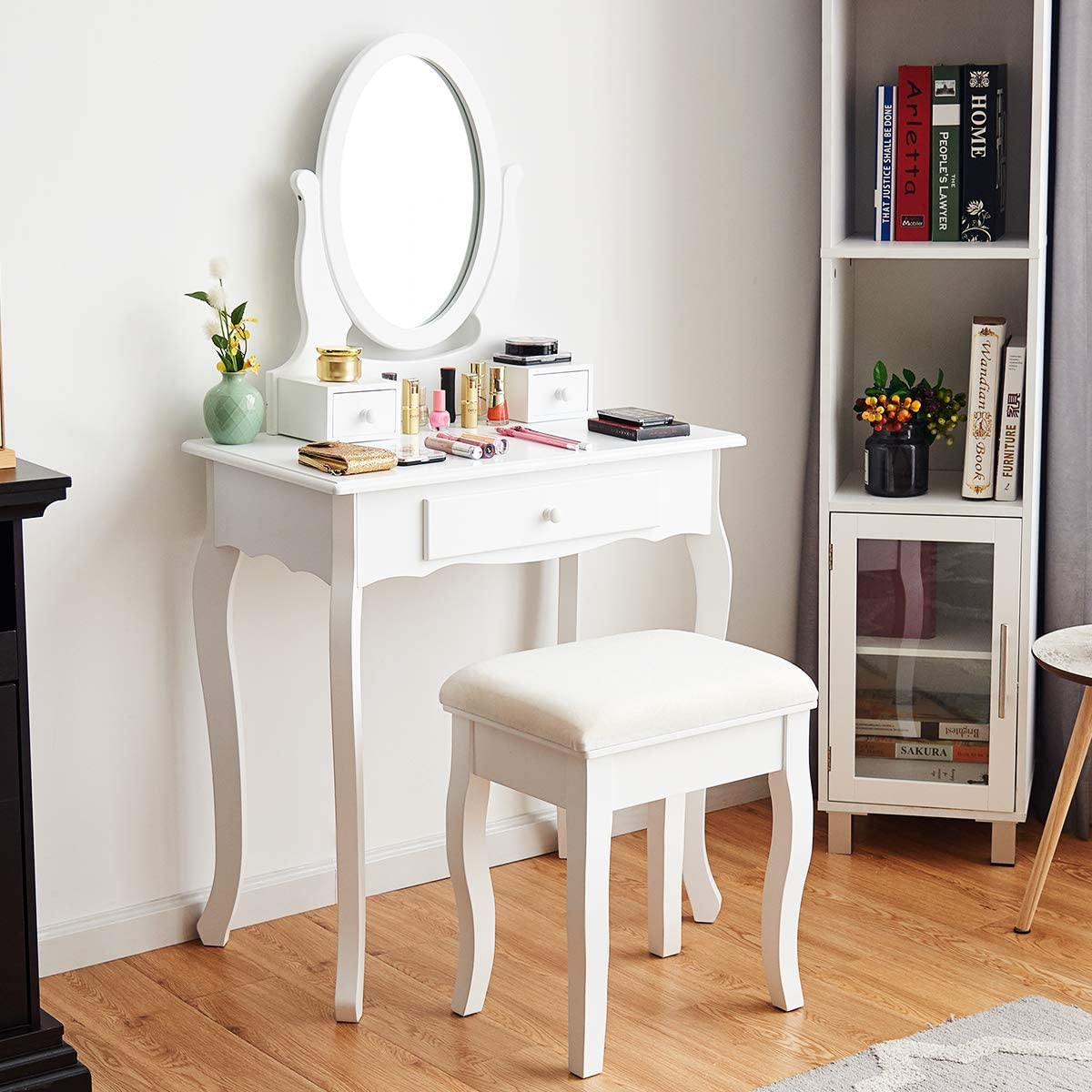 Giantex Vanity Table Set 20 Drawers with Mirror, Cushioned Bench Bathroom  Bedroom Wood Room Vanities Removable Top Dual Use Jewelry Makeup Dresser