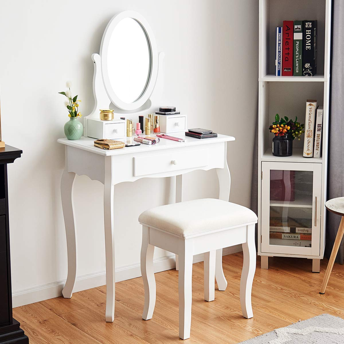 Giantex Vanity Table Set 3 Drawers with Mirror, Cushioned Bench Bathroom Bedroom Wood Room Vanities Removable Top Dual Use Jewelry Makeup Dresser Desk, Dressing Tables w Stool, White