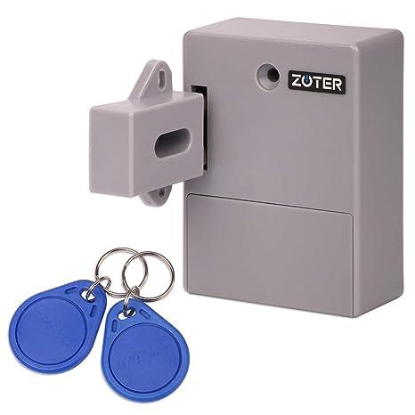 ZOTER Cabinet Lock, Battery RFID Card Hidden Drawer Locker Lock Keyless DIY  Without Perforated Hole