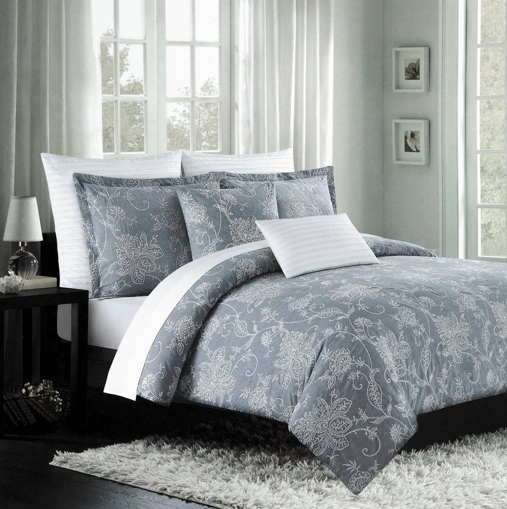 Nicole Miller Luxury Embroidered Duvet Cover Set Gray White Ornate Grey Floral Scroll Design 300TC Cotton 3 piece Bedding Set (Queen)