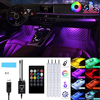 Car LED Strip Light Interior,TOSPRA 4PCS 48 LED Multicolor Music Car Atmosphere Light,Sticky Foam Adhesive,Sensitively Wireless Remote Control with Sound Active Function: Automotive