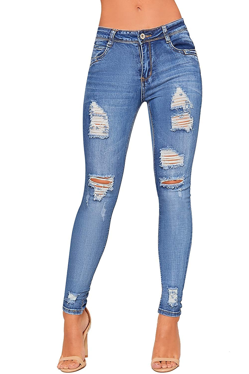WearAll Women's Ripped Distressed Skinny Leg Denim Jeans Ladies Pants Trousers Stretch 6-14 89576