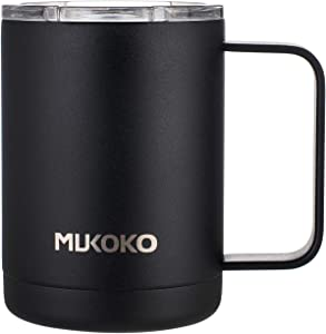 Coffee Mug 16oz Vacuum Insulated Camping Mug with Lid, Double Wall Stainless Steel Travel Tumbler Coffee Thermos Outdoor(14oz After Lid is Closed) Black