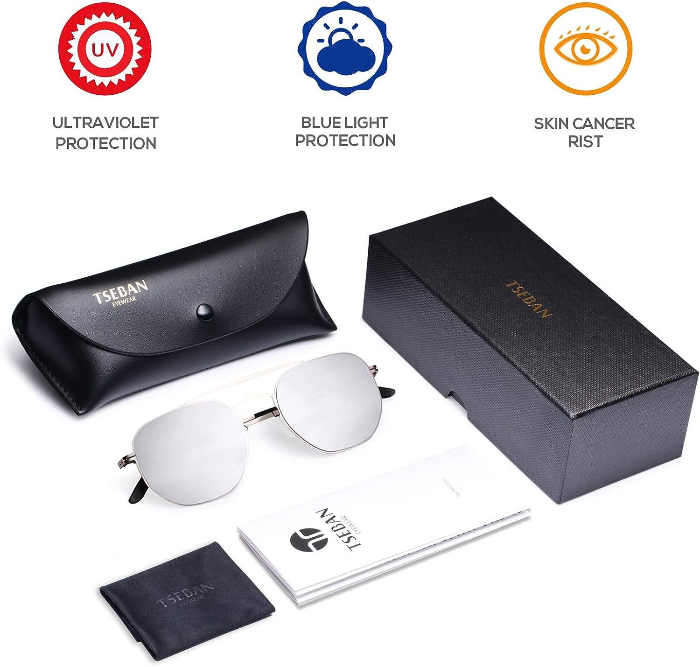 TSEBAN Vintage Lunettes de Soleil Hommes UV400 Protection Unisex Pour Conduite Avec Monture en M/étal Incassable