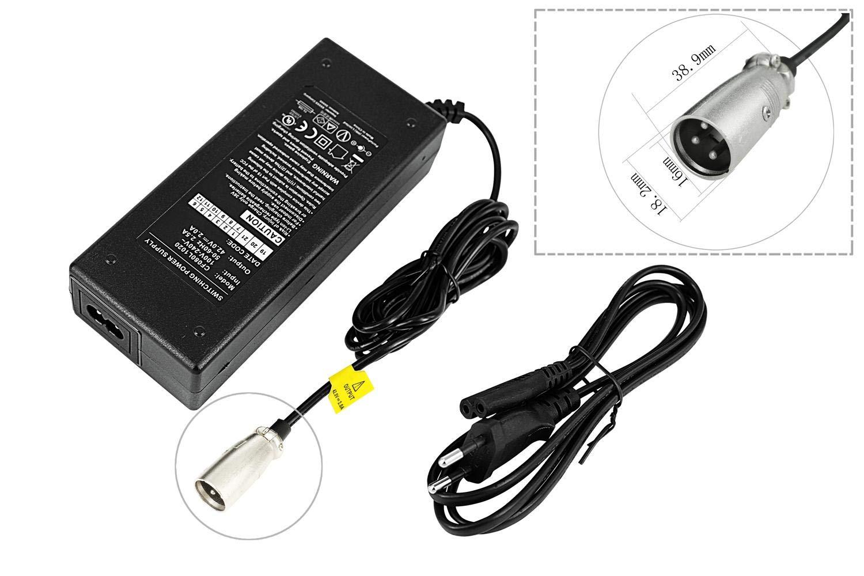 Ladeger/ät Netzteil das E-Bike Pedelec 36V Akku Batterie mit 3-Pin Stecker Ausgangsstrom PowerSmart/® 2,0A