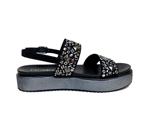 Caf Noir GH910 scarpa sandalo frate donna nero con borchie