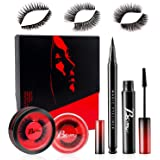 [3 Styles] Upgrade False Eyelashes,Reusable Magnetic Eyelashes, Invisible Magnetic Eyeliner with Mascara and Tweezers kit,3D Handmade Waterproof False Eyelashes Extensions for Daily,Travel,party etc.