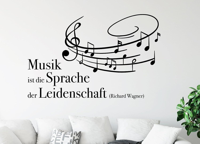 Tjapalo S Pkm367 Wandtattoo Musik Spruch Wandtattoo Wohnzimmer Musik Ist Die Sprache Der Leidenschaft B120 X H58 Cm