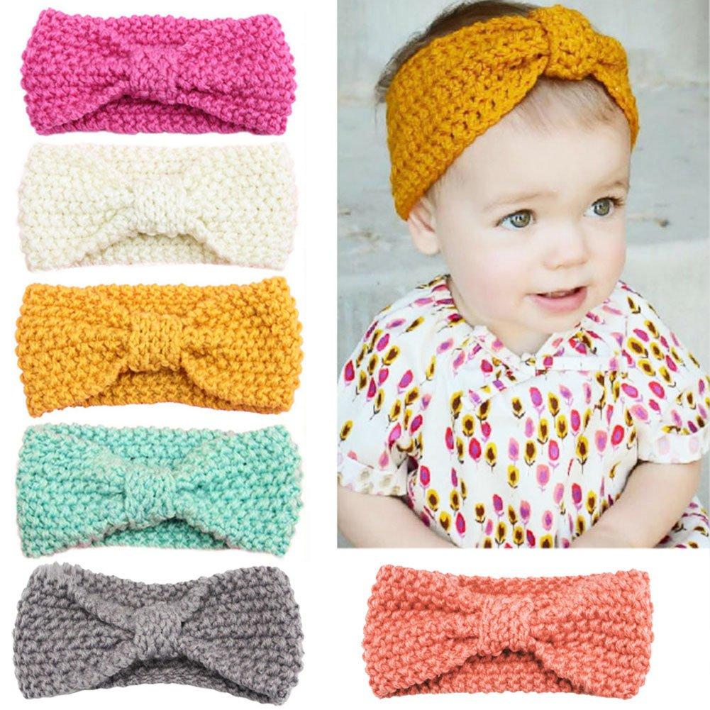 YASSON Lot de 6 Bandeau Crochet Cheveux Élastique Bébé Fille Nœud Serre-Tête Bande Coiffure Cadeau Noël Anniversaire 9910BYS-6pcs-H57