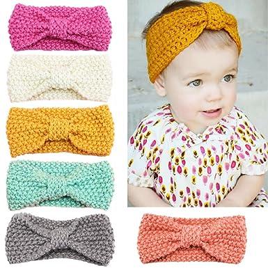 YASSON Lot de 6 Bandeau Crochet Cheveux Élastique Bébé Fille Nœud Serre-Tête  Bande Coiffure 61e4bcef071