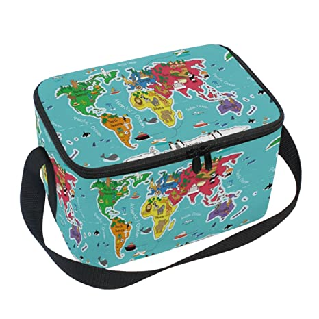 Amazon naanle world map canvas zipper insulated lunch bag naanle world map canvas zipper insulated lunch bag cooler tote bag earth map lunch box gumiabroncs Choice Image