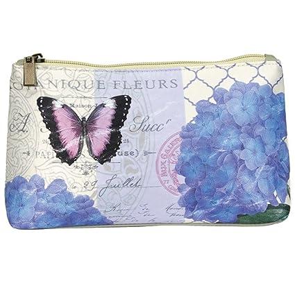 c2a40cc8dd Amazon.com  Modern Vintage Zip Top Cosmetic Bag (Blue Hydrangea ...
