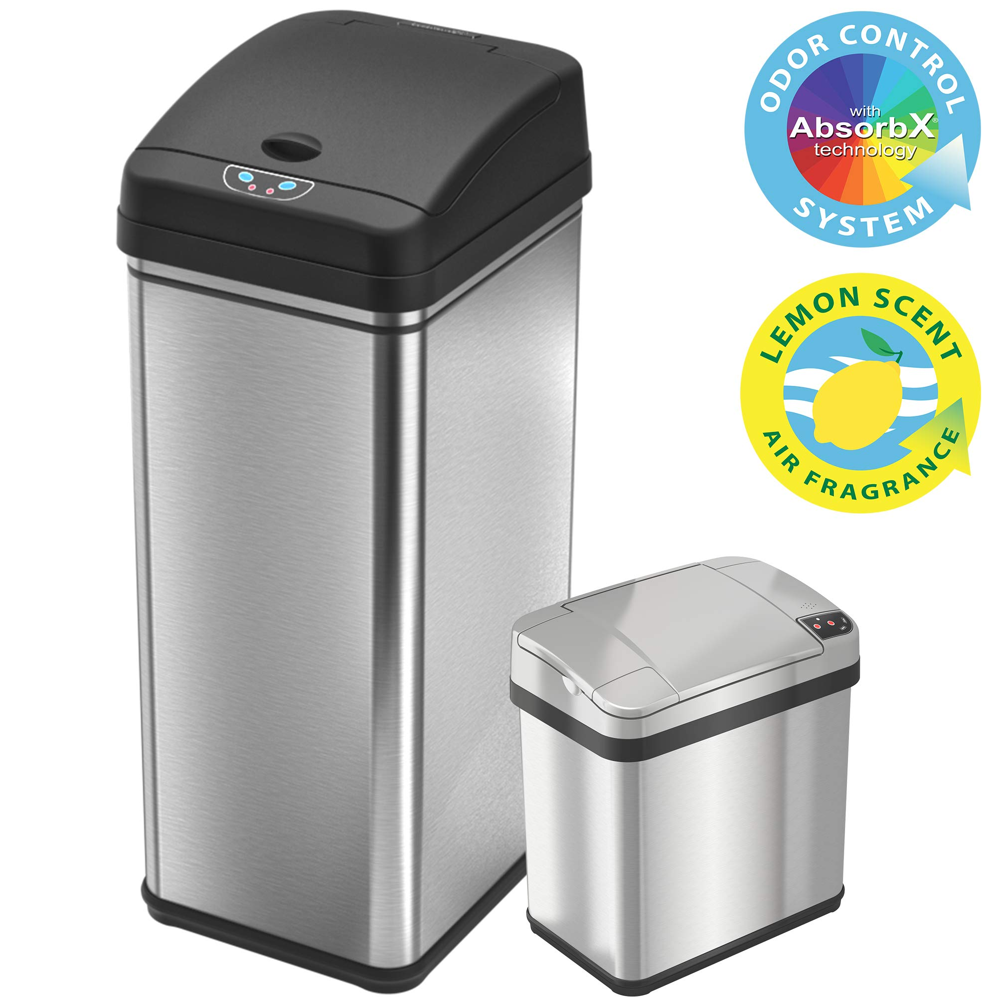 iTouchless 13 Gallon and 2.5 Gallon Sensor Trash Cans (Set of 2), Stainless Steel Bins for Kitchen and Bathroom, Odor Control System by iTouchless