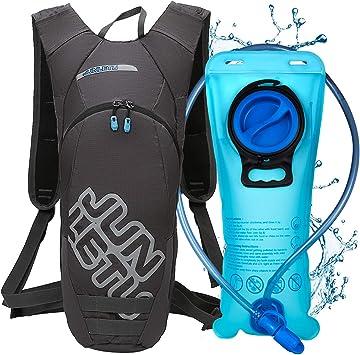 LUROON Mochila de Hidratación con 2L Bolsa de Agua sin BPA, Ligero Portátil Mochila de Correr para Hacer Ejercicio, Escalar, Acampar, Esquiar, ...