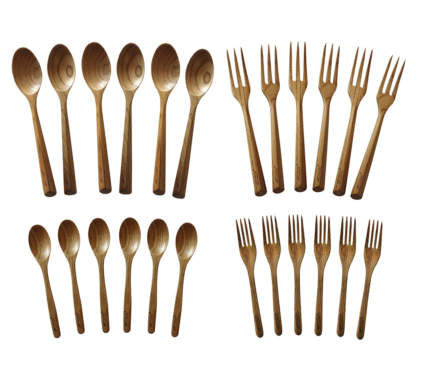amazon com akcook natural wooden flatware sets 24 piece set