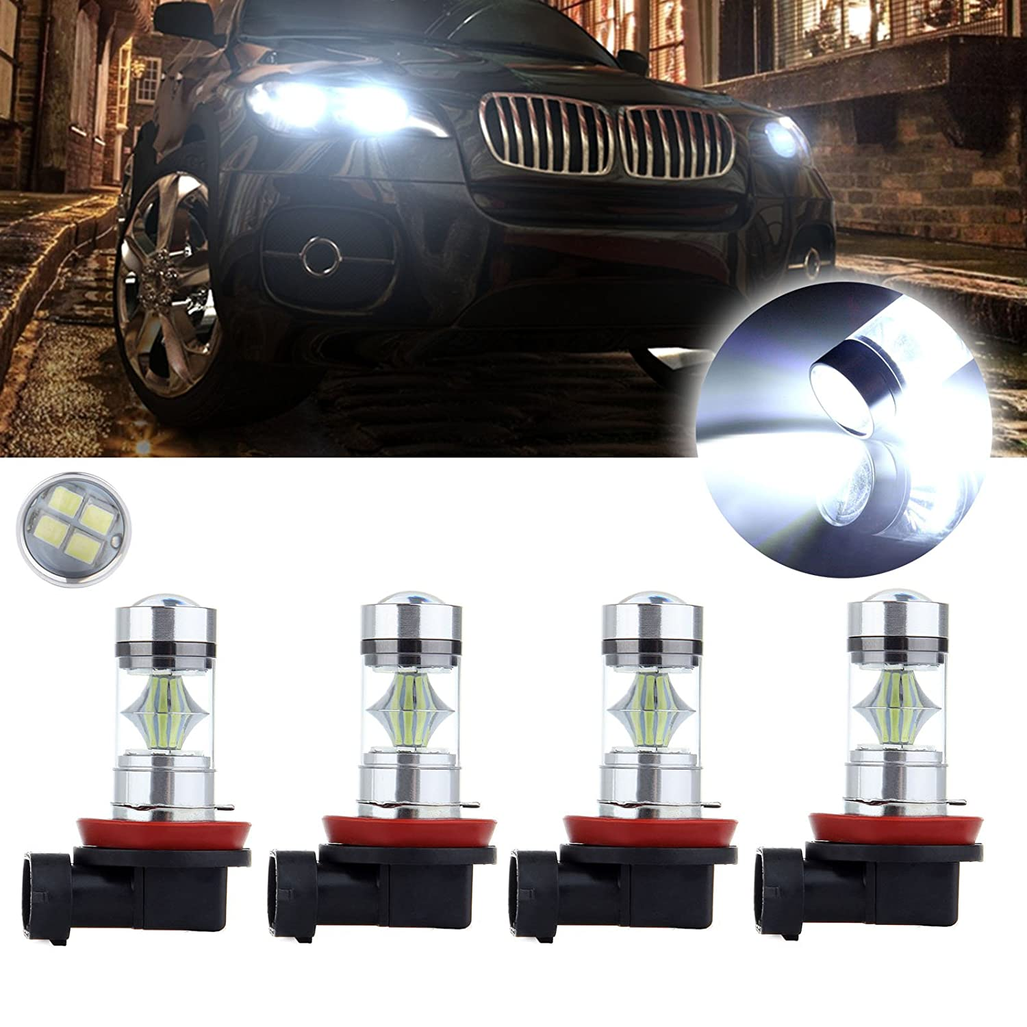 cciyu 4 Pack Xenon White 6000K H11 H8 H9 60W 6000LM Cree LED 12 SMD Light Fog DRL Daytime Lamps US Fast