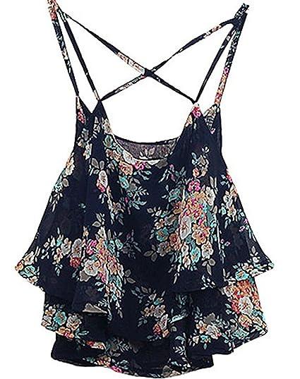 22fb4b6afffa Shawhuaa Womens Flowy Vintage Floral Print Chiffon Shirt Vest Strap Top  Black