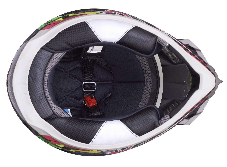 NENKI Helmets NK-316 Casques de Motocross pour Hommes et Femmes ECE approuv/és Blanc Bleu Rouge, L