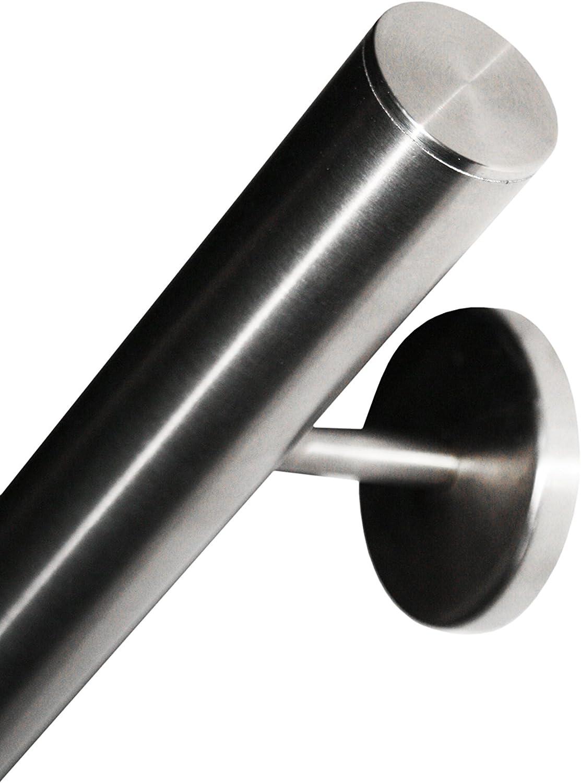 diametre 33,7mm AISI 304 embouts dro/îtes avec des supports soud/és jusqua 6 metre poli Main Courante en acier inoxydable V2A