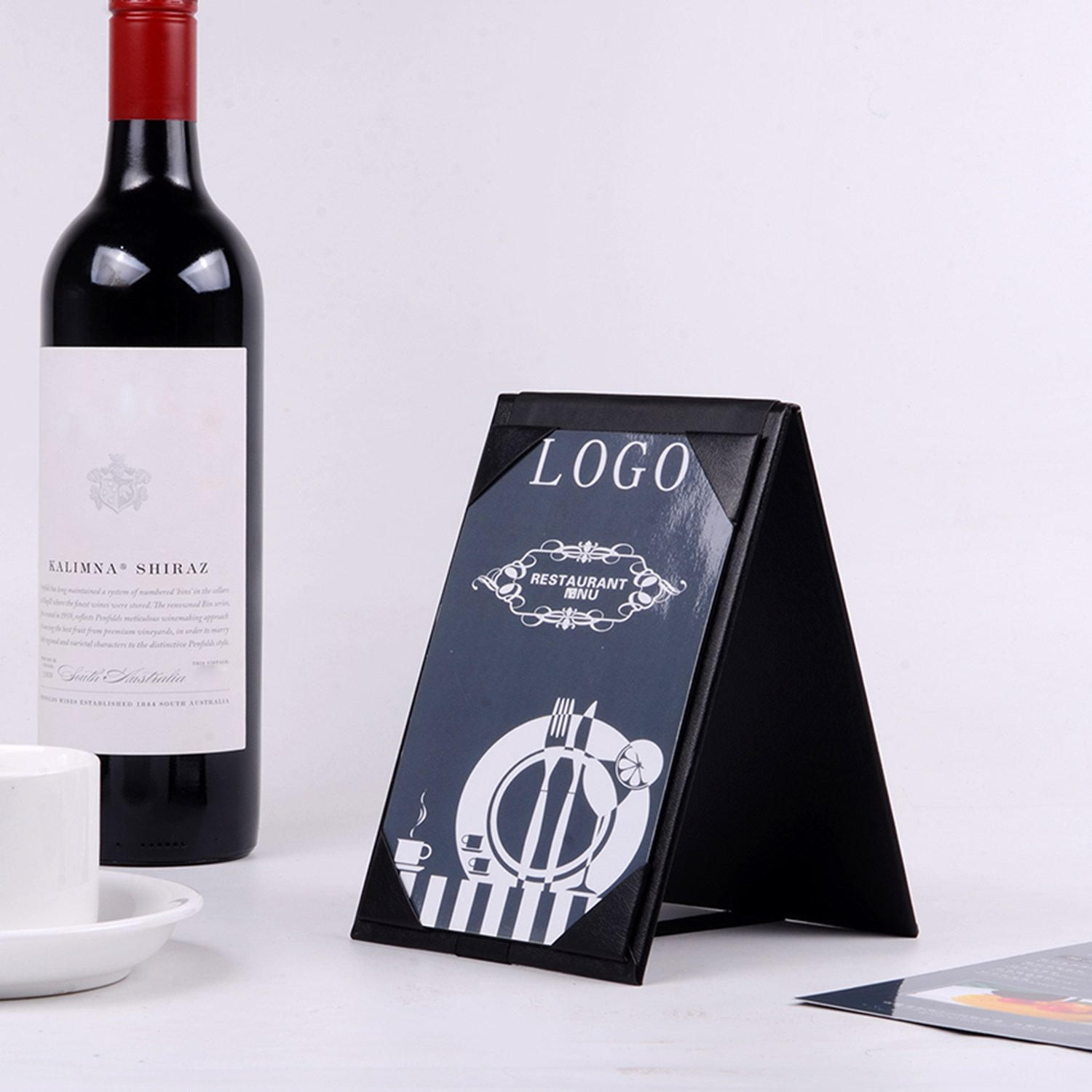20PCSLeather Table Tent / Menu Holder/ Menu Covers for Specials Drinks or Restaurant Black (6''×4'' inch) by WFD.L (Image #5)