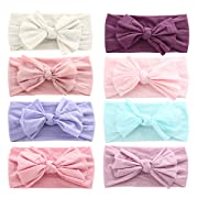 Baby Girl Nylon Headbands Newborn Infant Toddler Hairbands and Bows Child Hair Accessories (Multicolor-ZM18)