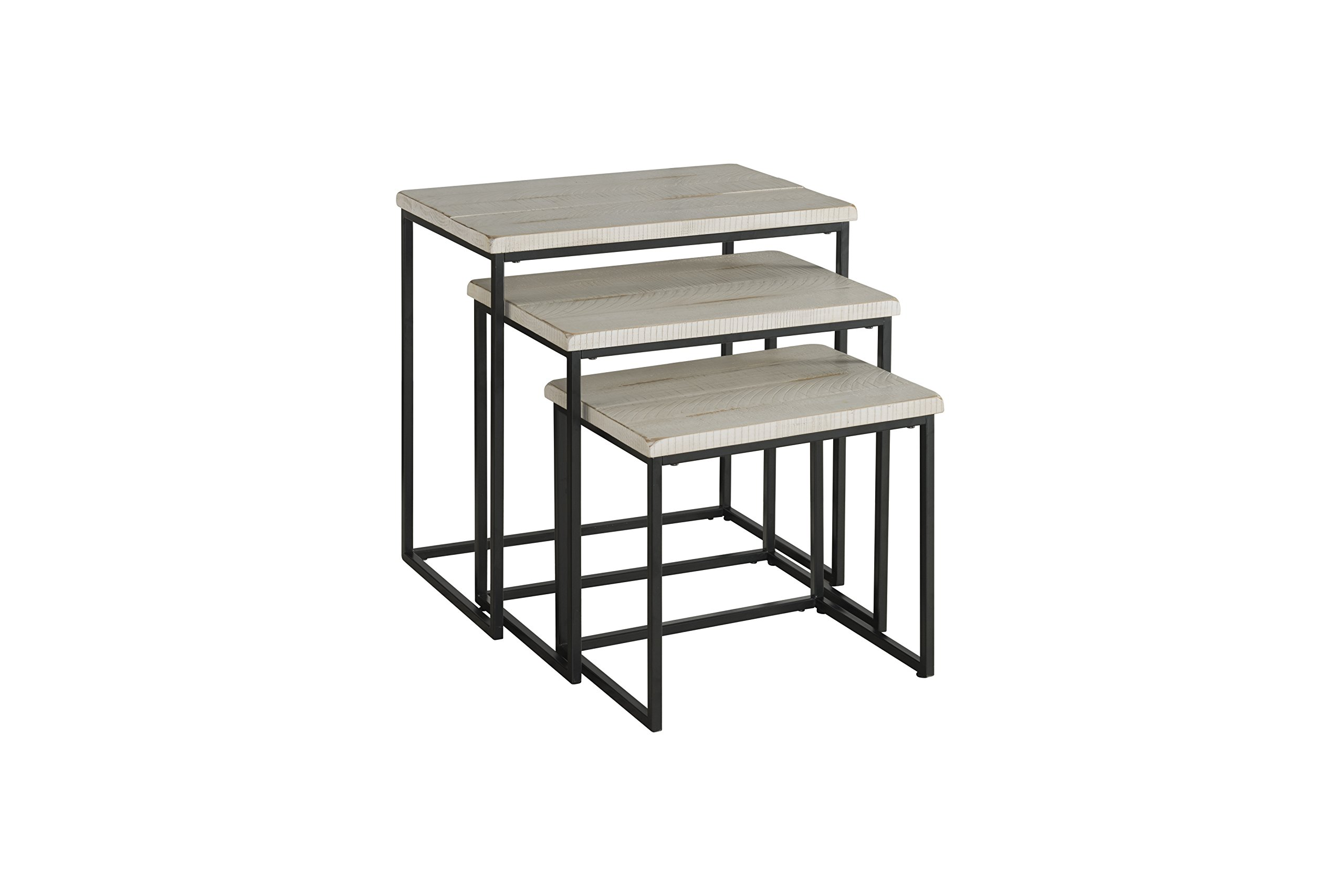 Martin Svensson Home Rustic Collection Solid Wood & Metal 3 Piece Nesting Table, Antique White by Martin Svensson Home