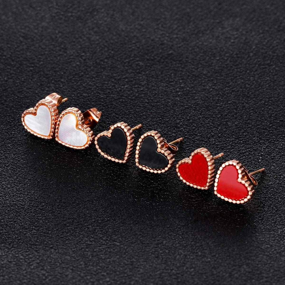 Stud Earring for Women,Rose Gold Stud Hypoallergenic Earring Studs for Girls Gift Tiny Stainless Steel Stud #3 Heart, White Shell