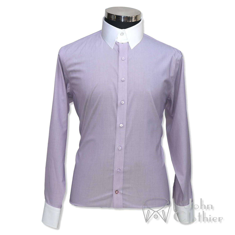 Whitepilotshirts Tab Collar Mens Bankers Shirt Purple Pin Stripe 100