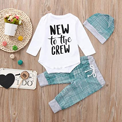 82a3ea95b Amazon.com: Clearance SRYSHKR Newborn Baby Boys Girls Striped Letter Print  Tops+Pants+Hat Casual Set Clothes: Clothing
