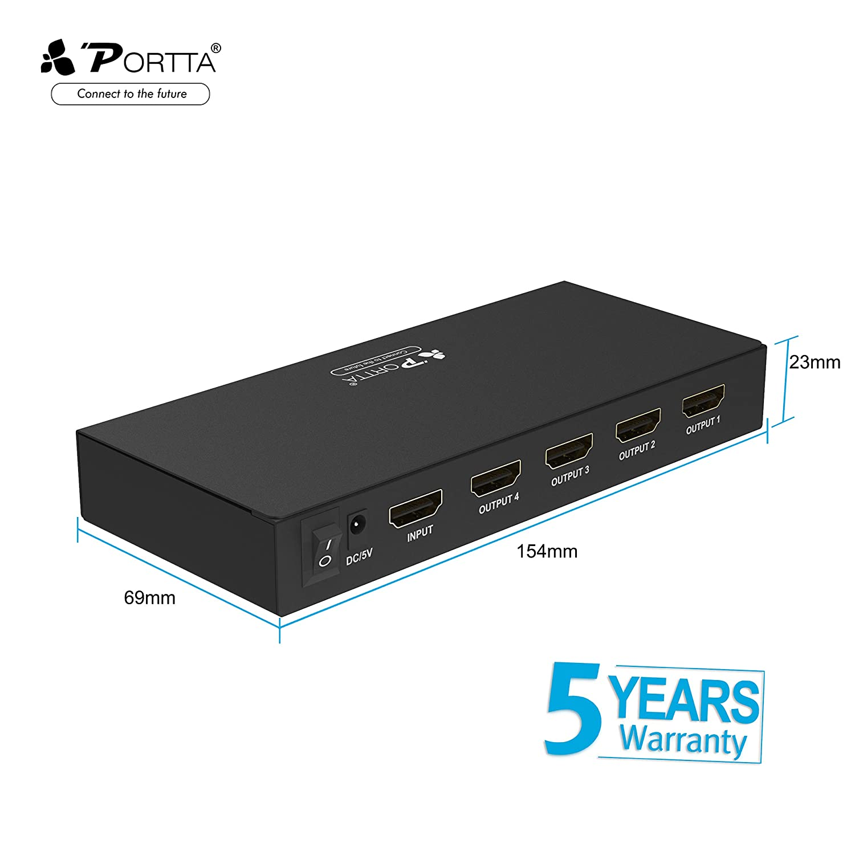 Portta HDMI Splitter 4K@60Hz 1x4 1 entrada HDMI y 4 salidas divisor Distribuidor HDMI Soporta 4K@60Hz HDCP 1.4/2.2 Ultra HD Full HD HDR: Amazon.es: ...