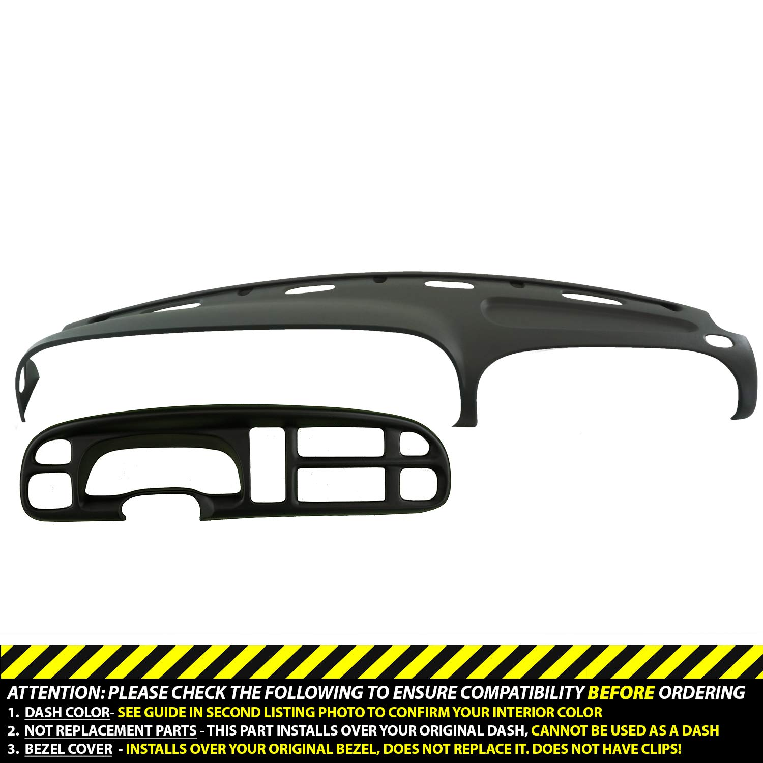 DashSkin Molded Dash & Bezel Cover Kit Compatible with 99-01 Dodge Ram in Agate (Dark Grey)