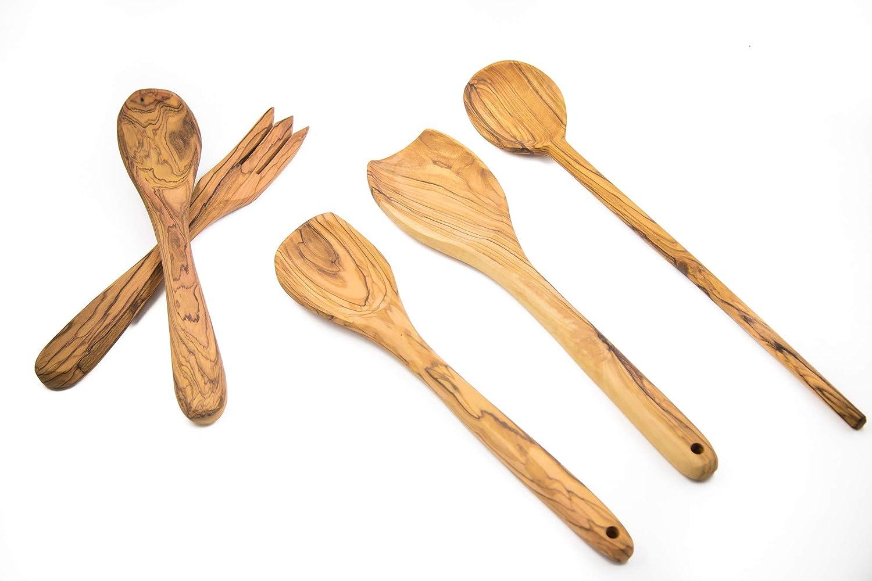 Holy Land Made Olive Wood Salad Cooking /& Serving Utensils Set Utensils Set 10-14