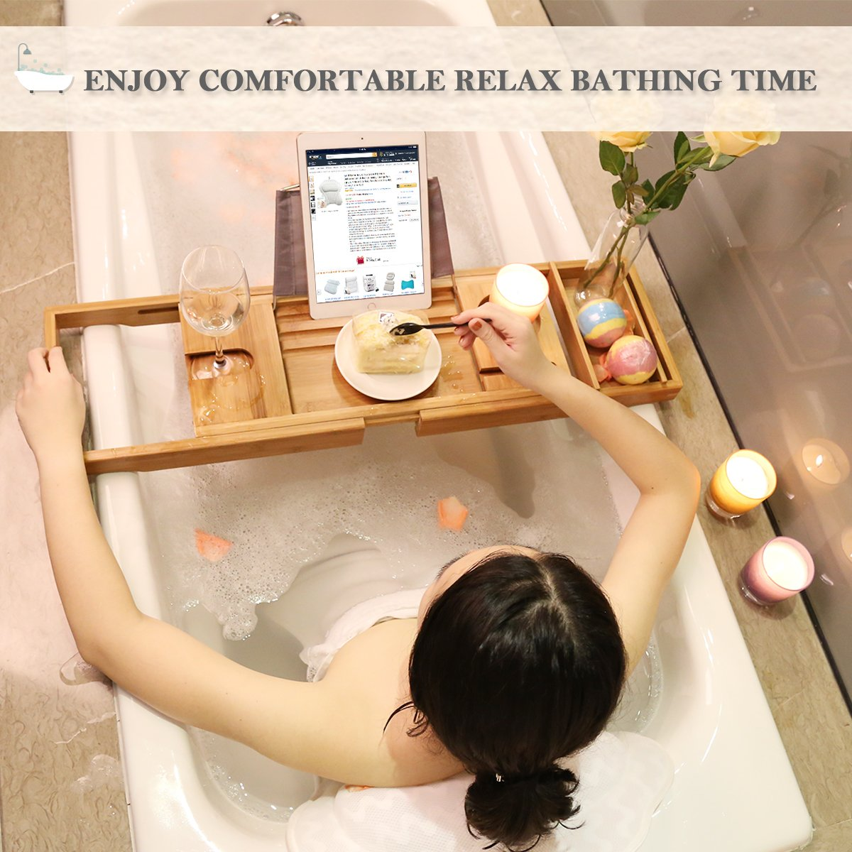 Luxury Bamboo Bathtub Caddy Tub Organizer with Extending Sides, Book Tablet Wine Holder for Bathing Relaxing CoastaCloud