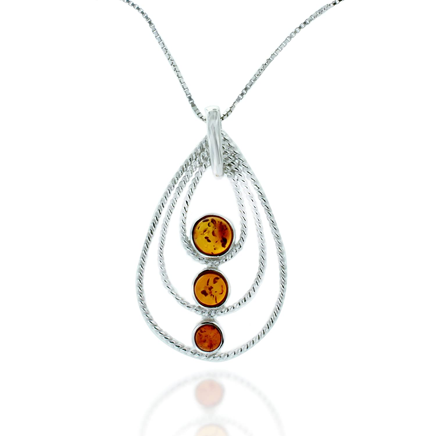 Chuvora Rhodium Plated 925 Sterling Silver Amber Gemstone Three Tier Teardrop Pendant Necklace 18 inches