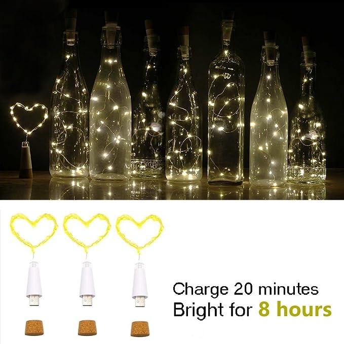 LED Botella corcho Luces, Alimentado por USB Recargable, 1.9m Alambre de cobre con 20 LED Luces de cadena, para Bricolaje Decoración Al aire libre Partido ...