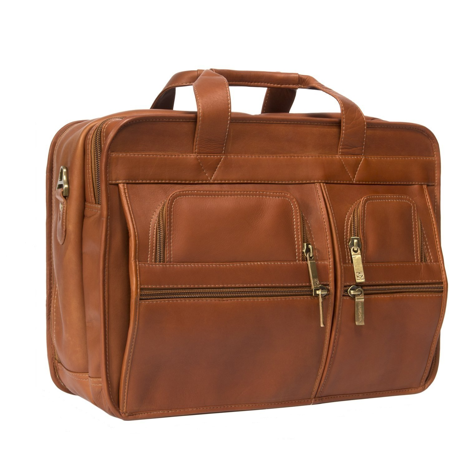 Luggage Depot USA, LLC Muiska 17 inch Double Compartment Leather Laptop Briefcase, Saddle, One Size