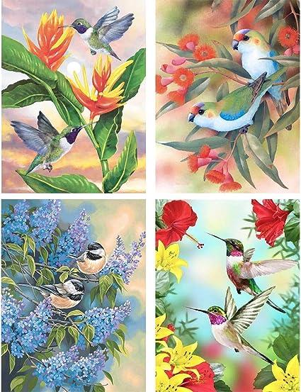 4 Pack 5D DIY Diamond Painting Kits Bird Full Drill Cross Stitch Home Decor