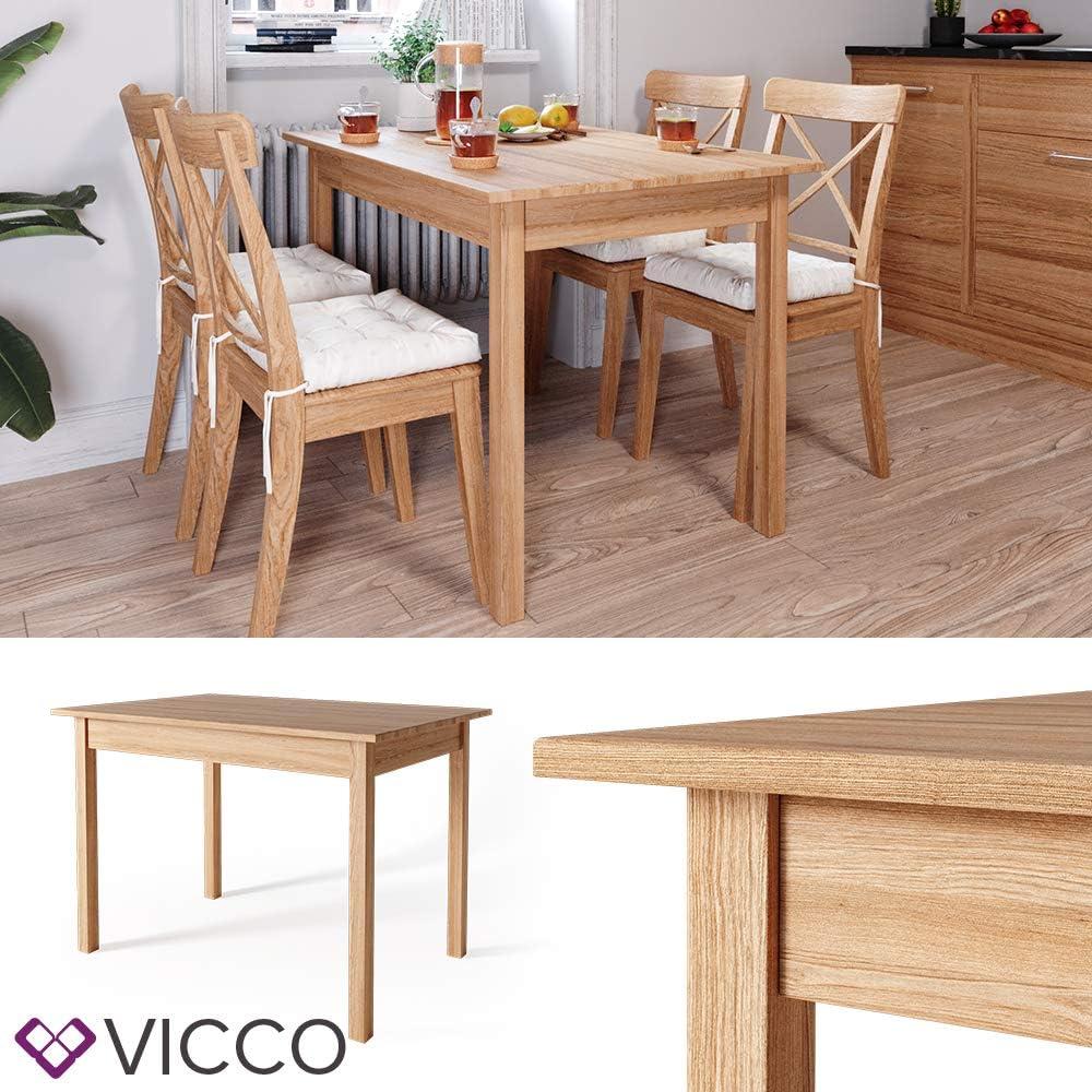50x75 cm Vicco Esstisch Jorge Eiche Massiv Esszimmertisch K/üche Tisch Holz Natur