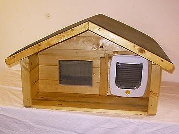 Gato Casa Exterior con terraza y gato Tapa suelo aislado: Amazon.es: Productos para mascotas