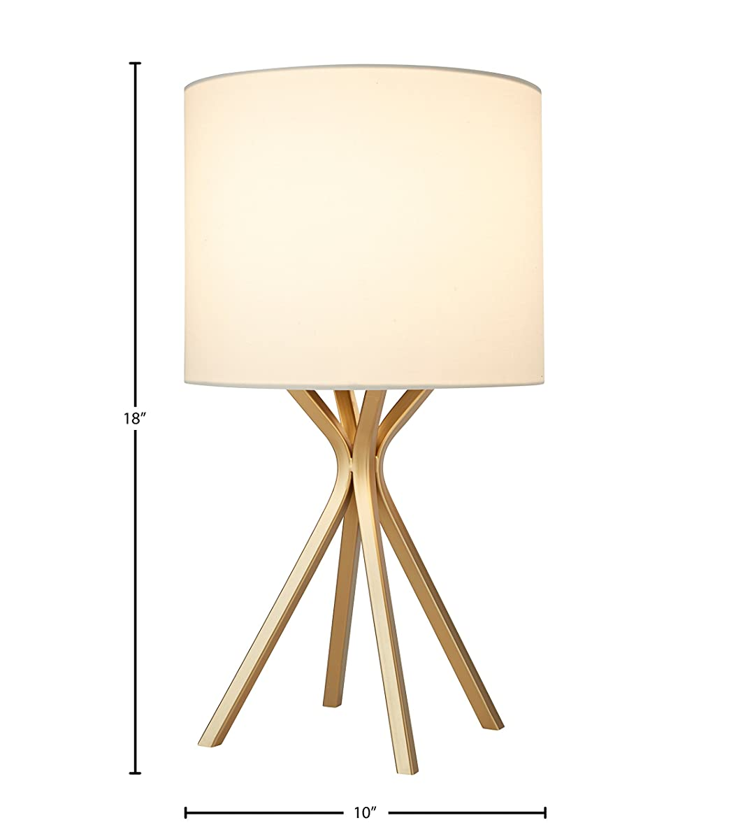 "Rivet Gold Table Lamp, 18""H, with Bulb, with Drum Linen Shade"