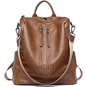 a19c4beb086d Women Backpack Purse Leather Fashion Travel Large Casual Covertible Ladies  Shoulder Bag