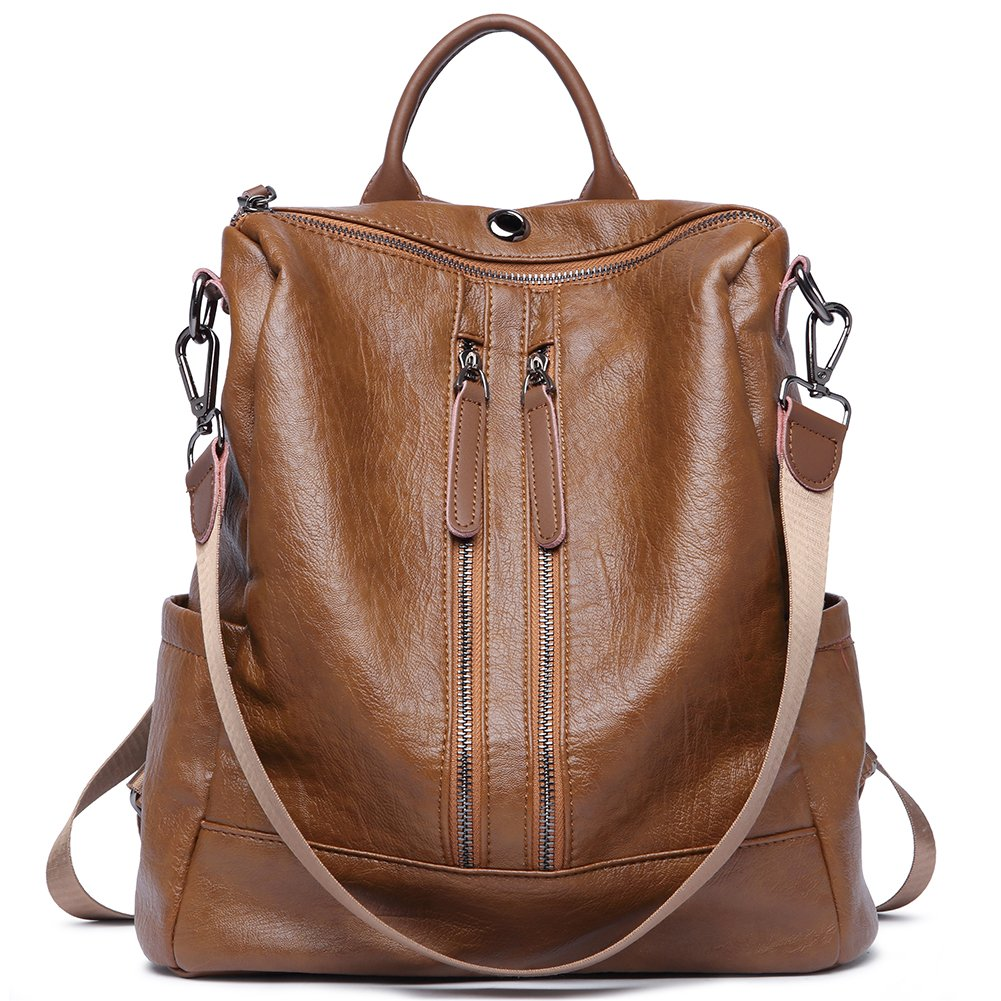 Amazon.com  Women Backpack Purse Leather Fashion Travel Large Casual  Covertible Ladies Shoulder Bag brown  Clothing 7ade93ab61