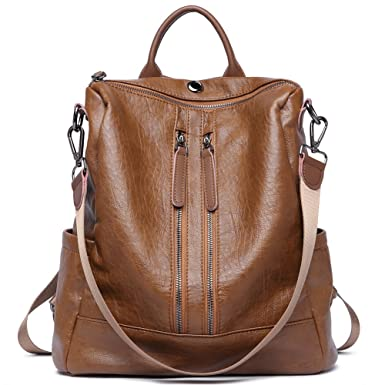 27bf5a2ba0e7 Amazon.com  Women Backpack Purse Leather Fashion Travel Large Casual  Covertible Ladies Shoulder Bag brown  Clothing
