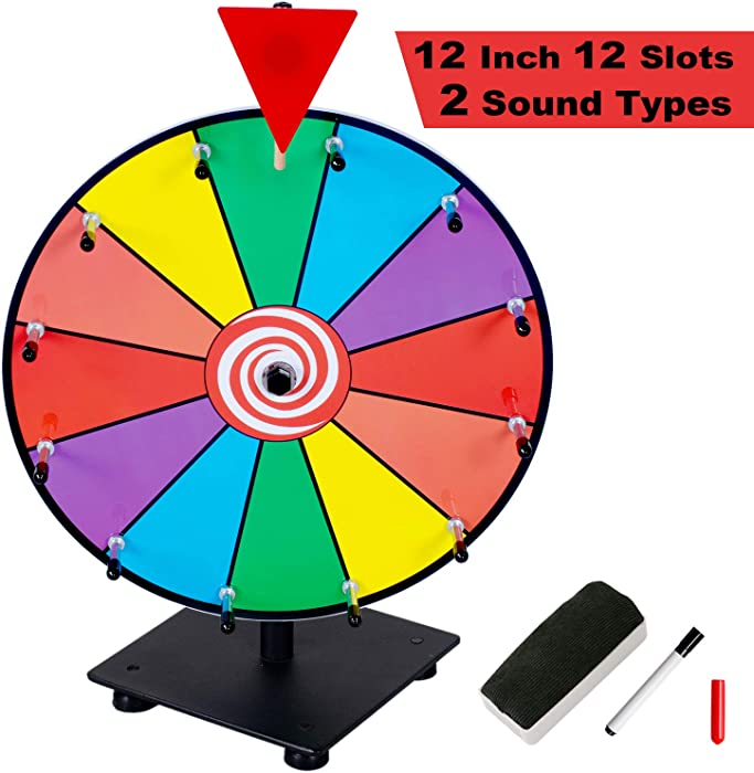 Klvied 12 Inch Heavy Duty Prize Wheel, 12 Slot Tabletop Color Spinning Wheel with 2 Model Clicker, Carnival Spin Wheel with Dry Erase Markers and Eraser for Trade Show, Fortune Spin Game