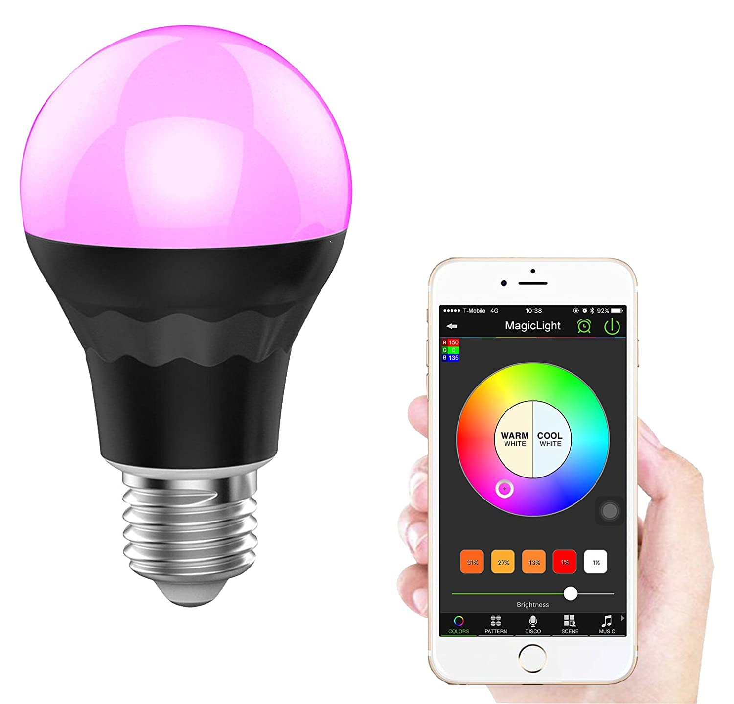 magiclight plus bluetooth light bulb dimmable multicolored 60w