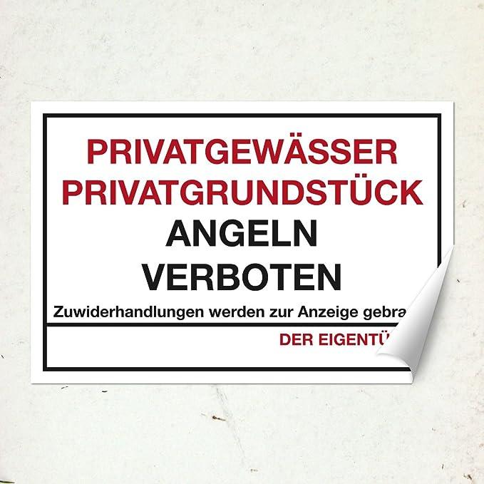 20x15 cm stabile Aluminium Verbundplatte Wandkings Hinweisschild Privatgew/ässer Privatgrundst/ück Angeln verboten! W/ähle eine Gr/ö/ße