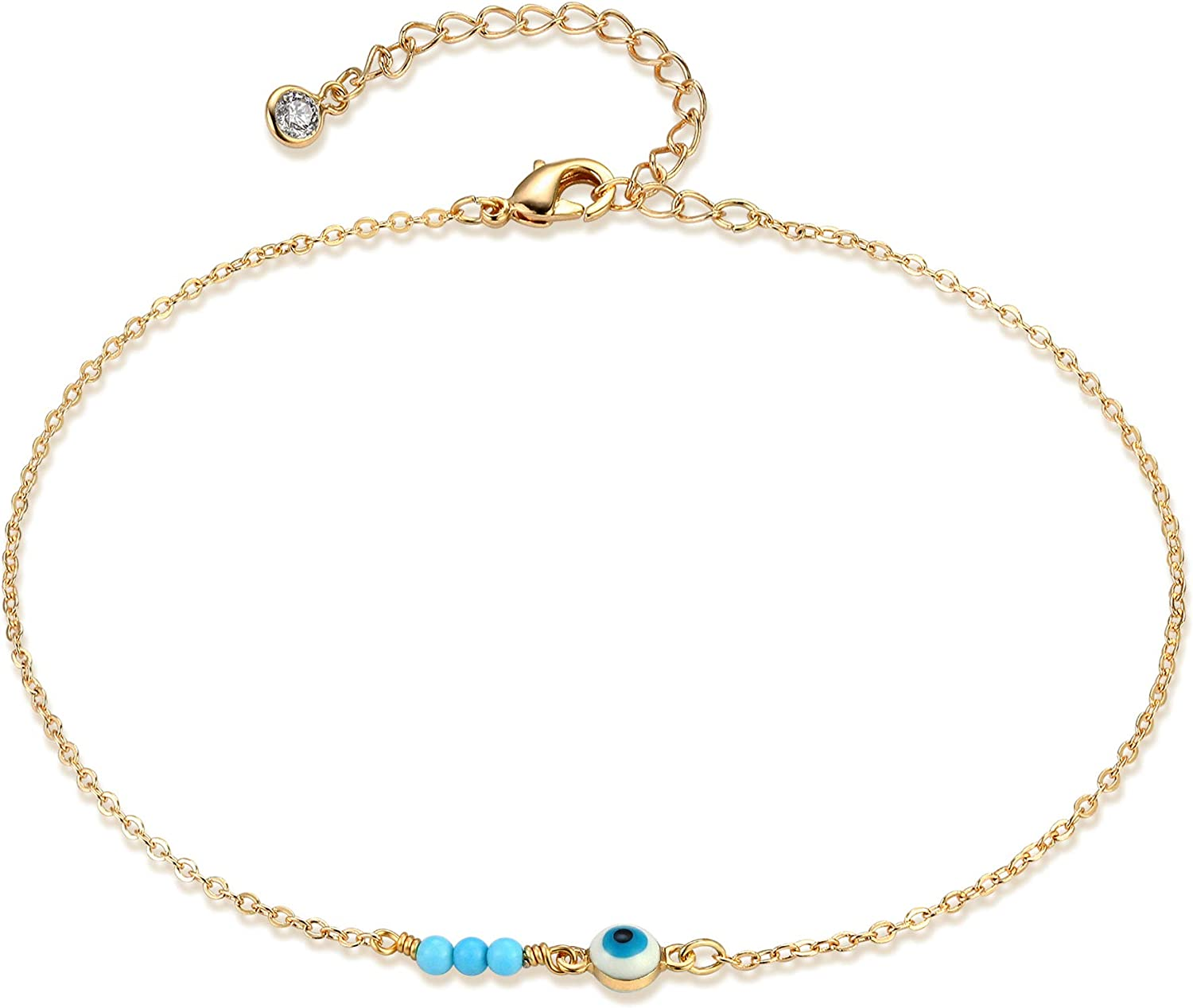 Mevecco Pearl Anklet Handmade 18k Gold Plated Dainty Boho Beach Cute Ankle Bracelet Adjustable Wafer Layered Turquoises Dangle Coins Foot Chain for Women