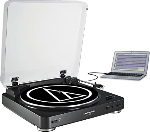 Audio-Technica AT-LP60BK-USB Fully Automatic Belt-Drive Stereo Turntable USB Analog , Black